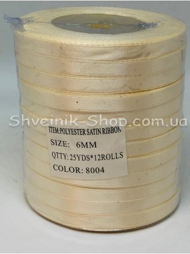 Лента атласная (Сатиновая лента) Ширина 0,6см Цвет: Молоко  в упаковке 276 метров цена за упаковку