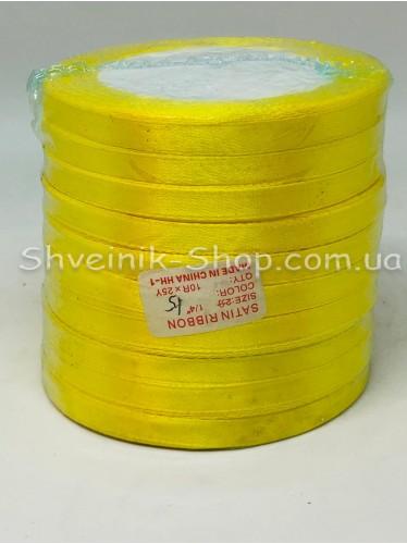 Лента атласная (Сатиновая лента) Ширина 0,6см Цвет: Жёлтый в упаковке 230 метров цена за упаковку