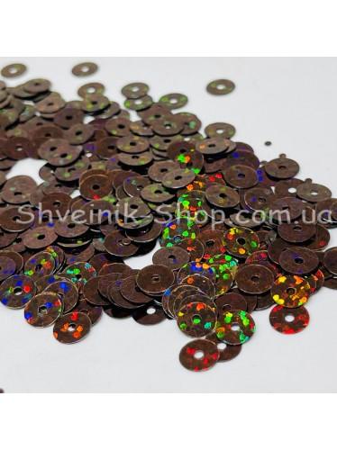 Паетка россыпью круг Цвет: коричневый голограмма Размер: диаметр 0,6 см в упаковке 500г цена за упаковку
