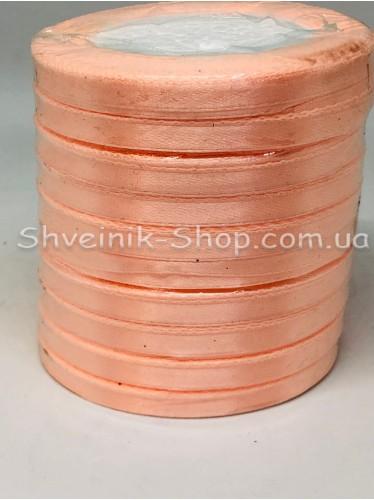 Лента атласная (Сатиновая лента) Ширина 0,6см Цвет: Персик  в упаковке 230 метров цена за упаковку