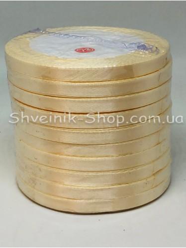 Лента атласная (Сатиновая лента) Ширина 0,6см Цвет: Крем  в упаковке 230 метров цена за упаковку