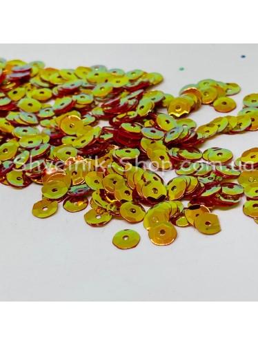 Паетка россыпью круг Цвет: терракот с золотом Размер: диаметр 0,6 см в упаковке 500г цена за упаковку
