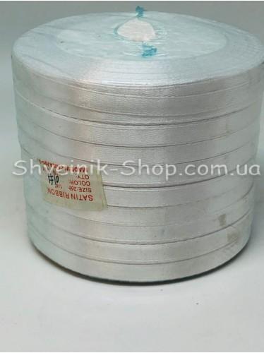 Лента атласная (Сатиновая лента) Ширина 0,6см Цвет: Белый в упаковке 230 метров цена за упаковку