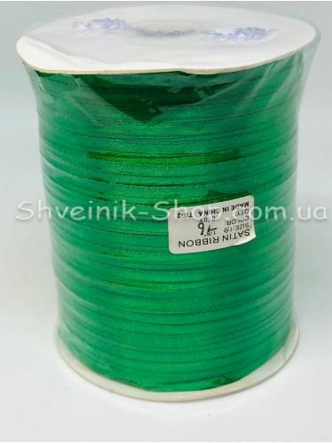 Лента атласная (Сатиновая лента) Ширина 0,3 см Цвет: Зелёный  в упаковке 920 метров цена за упаковку