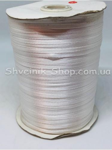 Лента атласная (Сатиновая лента) Ширина 0,3 см Цвет: Белый   в упаковке 920 метров цена за упаковку