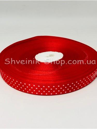 Лента атласная в горох Ширина  1,5 см в упаковке 92 м Цвет: Красный