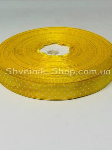 Лента атласная в горох Ширина  1,5 см в упаковке 92 м Цвет: Желтый