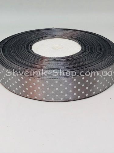 Лента атласная с рисунком Горох  Ширина 2,5 см в упаковке 92м Цвет: Серый