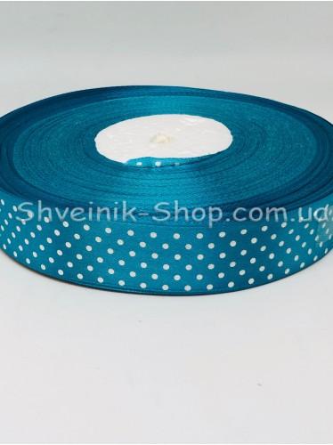 Лента атласная с рисунком Горох  Ширина 2,5 см в упаковке 92м Цвет: Бирюзовый