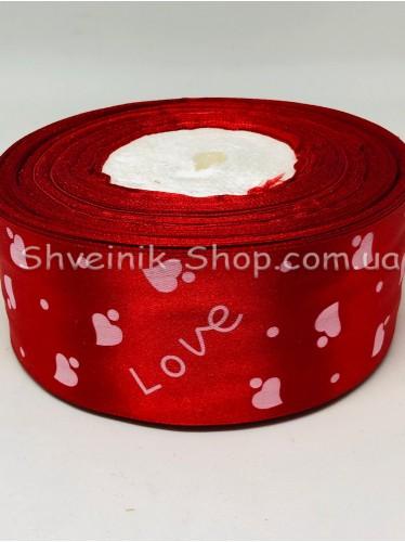 Лента атласная с рисунком LOVE Ширина 5 см в упаковке 46м Цвет: Красный