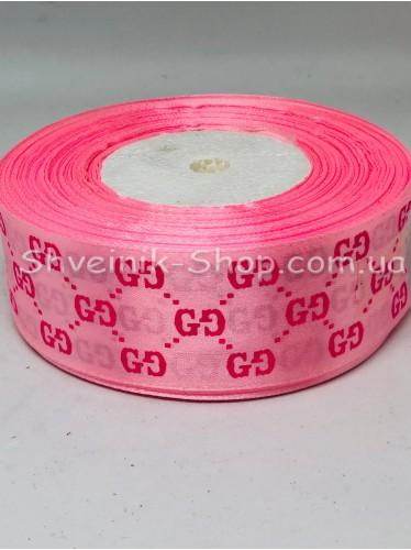 Лента атласная с рисунком GG Ширина 4 см в упаковке 46м Цвет: Розовый