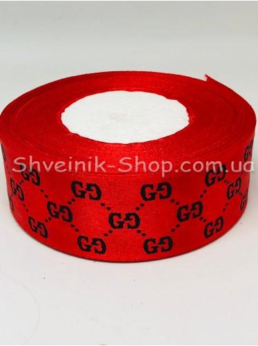 Лента атласная с рисунком GG Ширина 4 см в упаковке 46м Цвет: Красный
