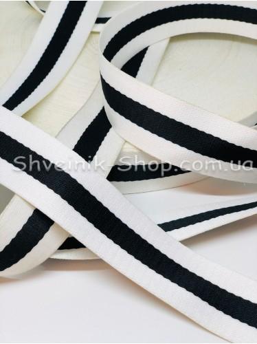 Стропа 38мм Цвет Белый + Черный в упаковке 46 метров