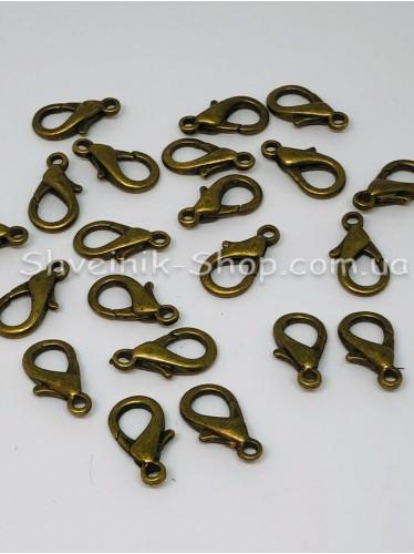 Карабин Размер Длина 2 см Ширина кольца 4мм цвет Старое Золото (Антик) в упаковке 200 штук