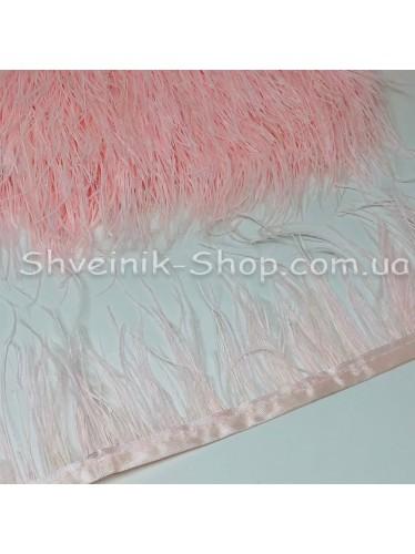 Перо Страуса Длина пера 10 см в упаковке 9,2 метра цвет Бледно Розовый