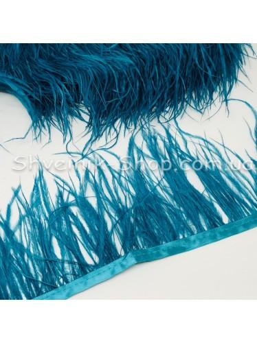 Перо Страуса Длина пера 10 см в упаковке 9,2 метра цвет Берюза