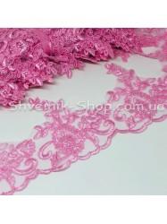 Кружево кордовое на сетке Ширина : 11 см Цвет : Розовый в упаковке 9,2 метра