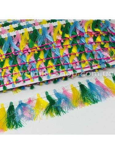 Тесьма Бахрома Размер :4 см Цвет :Цветная  в упаковке 18 метров
