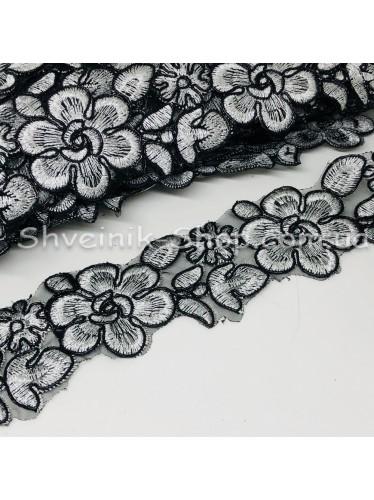 Тесьма декоративная  3-Д Ширина 4,5 см Цвет Черная + Серебро в упаковке  9,2 метров