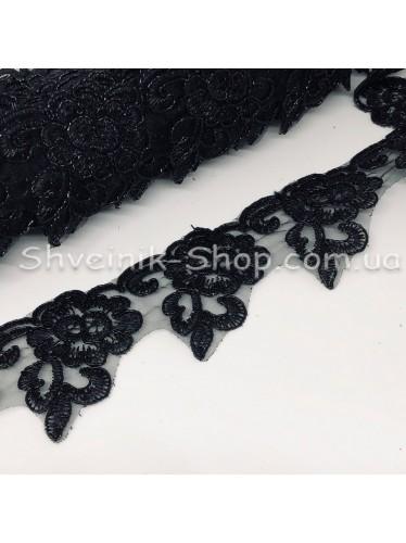 Тесьма декоративная  3-Д Ширина 4,5 см Цвет Черный  в упаковке  9,2 метров