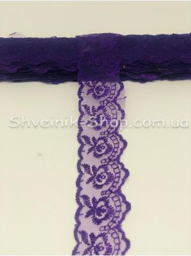 кружево органза ширина 4 см Цвет: Темный Фиолет  9,2 метров цена за упаковку