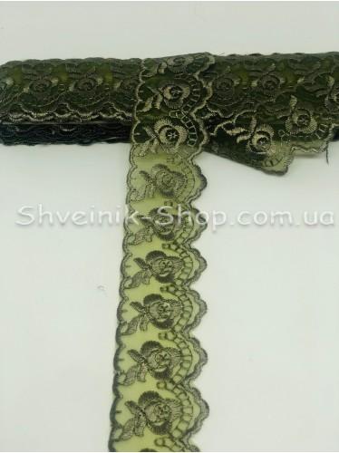 кружево органза ширина 4 см Цвет: Темная Оливка 9,2 метров цена за упаковку