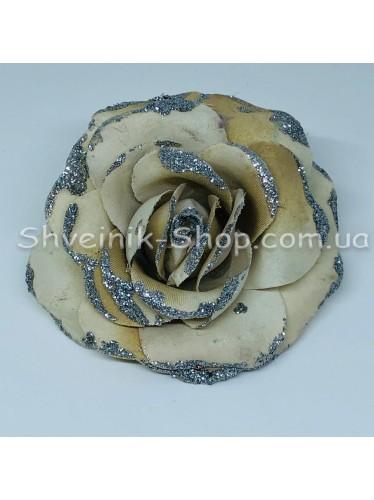 Цветы на булавке диаметр 8 см цена за шт Цвет: бежевый
