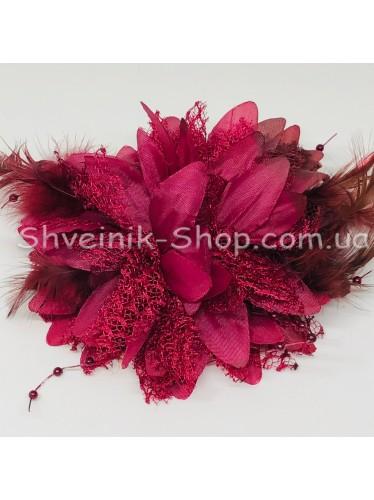 Цветы на булавке диаметр 10 см цена за шт Цвет: бордо