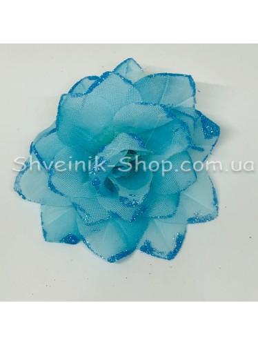 Цветы на булавке диаметр 7 см цена за шт Цвет: голубой