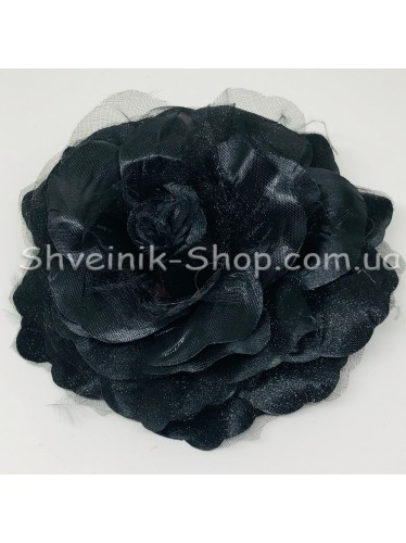 Цветы на булавке диаметр 12 см цена за шт Цвет: черный