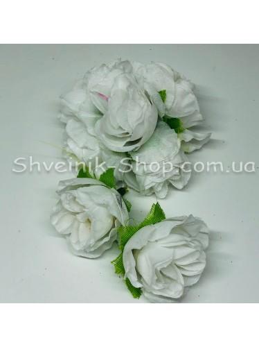 Цветы на булавке диаметр 6 см цена за шт Цвет: белый