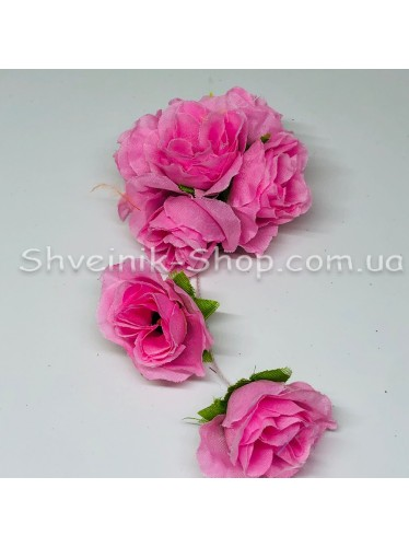 Цветы на булавке диаметр 6 см цена за шт Цвет: розовый
