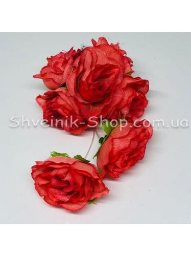Цветы на булавке диаметр 6 см цена за шт Цвет: коралл