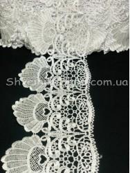 Кружево Вязаное  цвет Белое ширина 11 см в упаковке 13,8 метров цена за упаковку