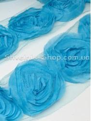 Тесьма декоративная роза на сетке ширина орнамента 8 см в упаковке 9,2 м Цвет: голубой