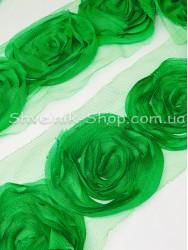 Тесьма декоративная роза на сетке ширина орнамента 8 см в упаковке 9,2 м Цвет: зеленый