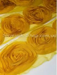 Тесьма декоративная роза на сетке ширина орнамента 8 см в упаковке 9,2 м Цвет: желтый