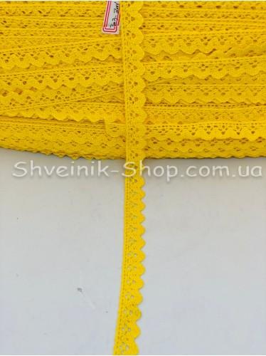 Кружево лён (Хлопок) цвет Желтый ширина 1,5 см в упаковке 184 метра цена за упаковку