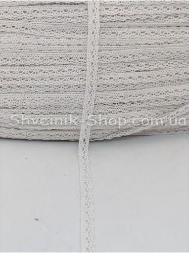 Кружево лён (Хлопок) цвет Белое ширина 1 см в упаковке 276 метра цена за упаковку