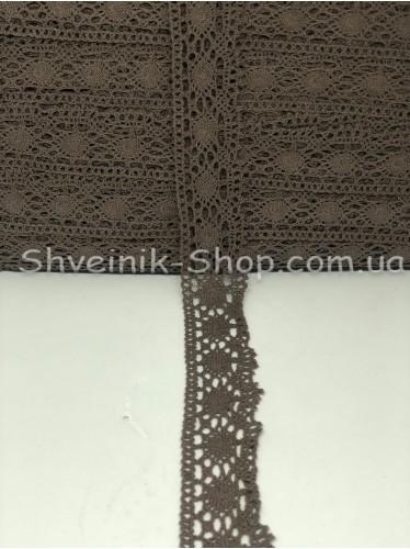 Кружево лён (Хлопок) цвет Бежевый ширина 4 см в упаковке 92 метра цена за упаковку