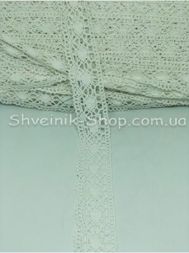 Кружево лён (Хлопок) цвет Белый ширина 4 см в упаковке 92 метра цена за упаковку