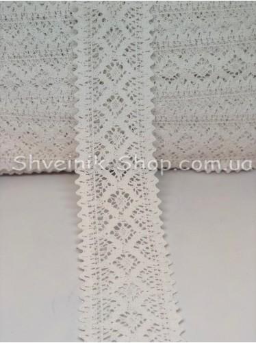 Кружево лён (Хлопок) цвет Белый ширина 7 см в упаковке 46 метра цена за упаковку