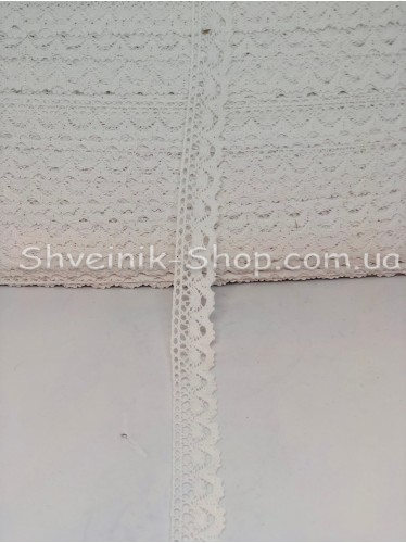 Кружево лён (Хлопок) цвет Белый ширина 2,3 см в упаковке 184 метра цена за упаковку