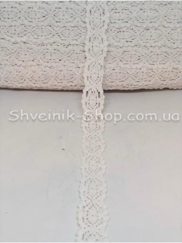 Кружево лён (Хлопок) цвет Белый ширина 3 см в упаковке 184 метра цена за упаковку