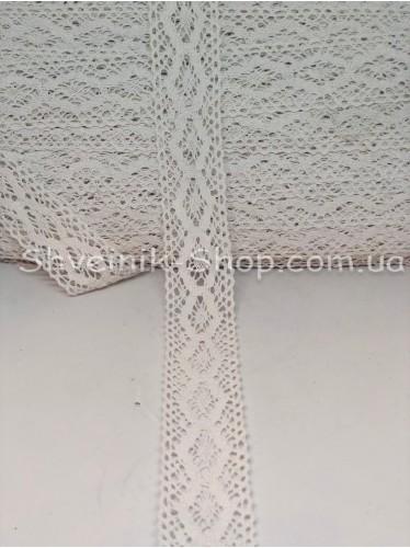 Кружево лён (Хлопок) цвет Белый ширина 4,5 см в упаковке 92 метра цена за упаковку