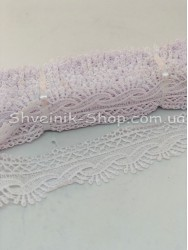 Кружево вязаное  цвет Белое ширина 4,5 см в упаковке 9,2метра цена за упаковку