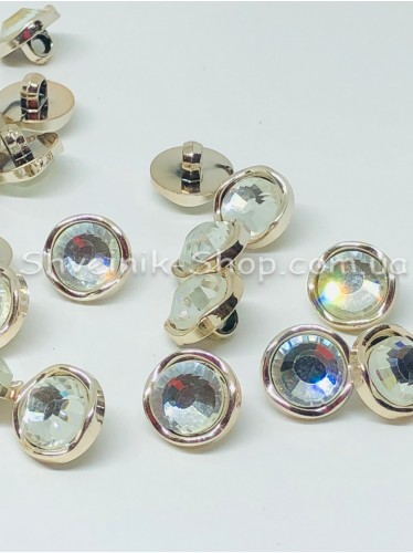 Пуговица Cтекло Камень на ножке Размер : 13мм Цвет :  Золото + Серебро в упаковке 1000 штук