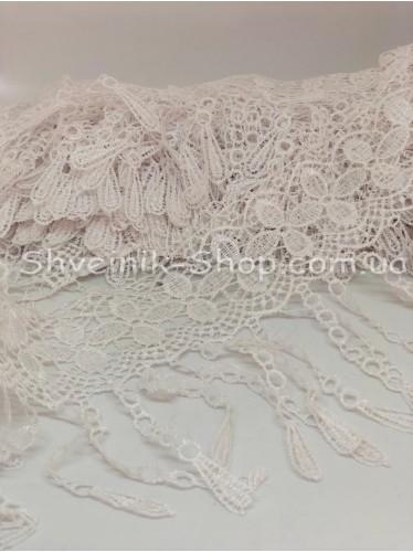 Кружево вязаное Бахрома цвет Белый ширина 13 см в упаковке 9,2метра цена за упаковку