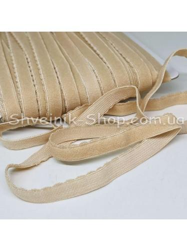 Резина зубчик мелкий ширина 1 см цвет : бежевый в упаковке 46 метров