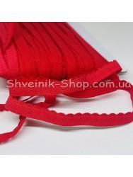 Резина зубчик мелкий ширина 1 см цвет : красный в упаковке 46 метров